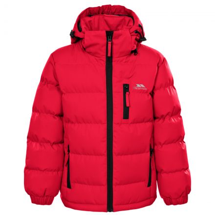 Tuff Boys' Padded Casual Jacket in Red, Front view on mannequin