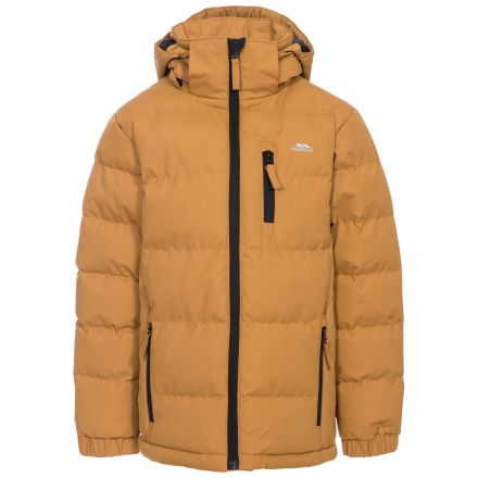 Tuff Boys' Padded Casual Jacket in Beige, Front view on mannequin
