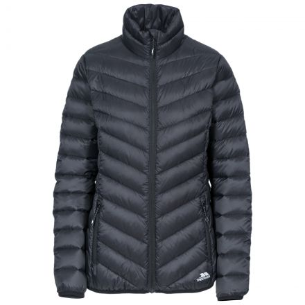 Valentina Women's Down Jacket in Black, Front view on mannequin