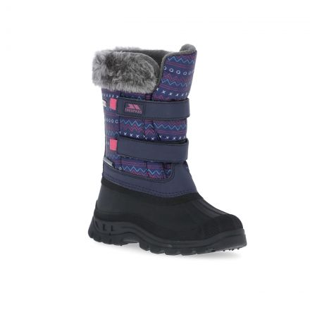 Vause Kids' Printed Snow Boots in Assorted, Angled view of footwear
