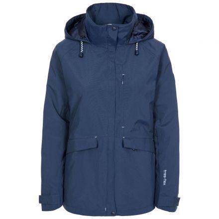Voyage Women's Waterproof Jacket in Navy, Front view on mannequin