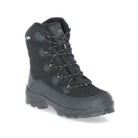 Zotos Men's Snow Boots in Black, Angled view of footwear