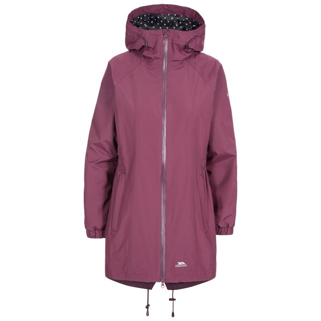 Trespass Womens Waterproof Jacket Long Length Daytrip Purple, Front view on mannequin