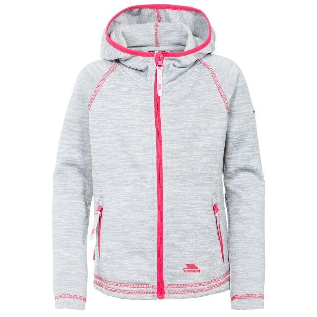 Trespass Kids Fleece Jacket with Hood Full Zip Goodness Grey, Front view on mannequin