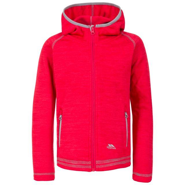 Trespass Kids Fleece Jacket with Hood Full Zip Goodness Pink, Front view on mannequin