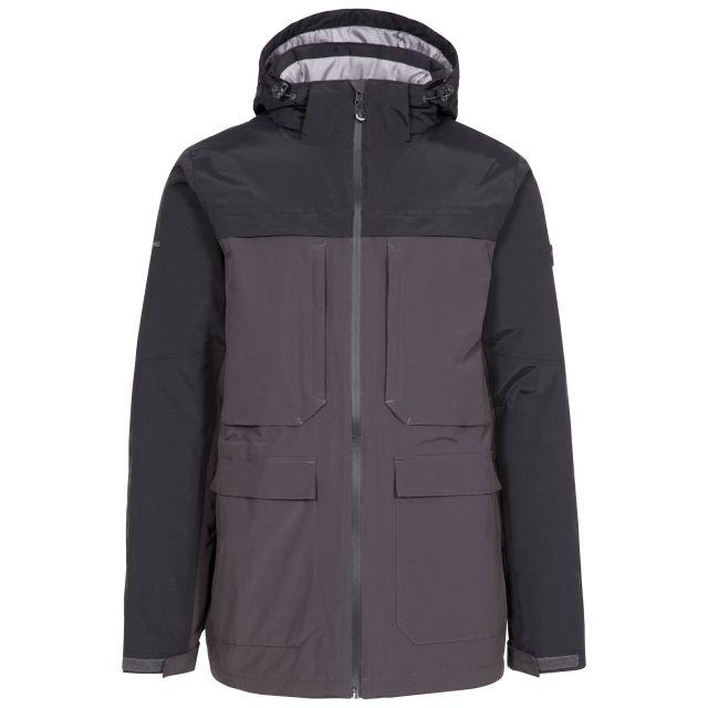 Heathrack Men's Padded Waterproof Jacket in Dark Grey, Front view on mannequin