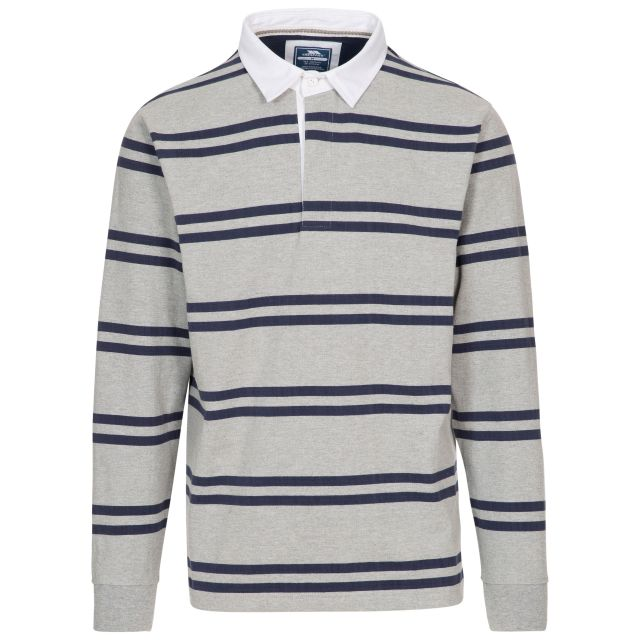 Keelbeg Men's Long Sleeve Cotton Top in Grey Marl Stripe