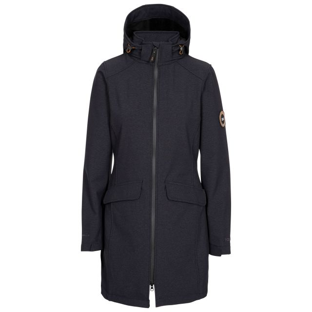 DLX Womens Softshell Jacket Water Resistant Longer Length Maria in Black Marl, Front view on mannequin