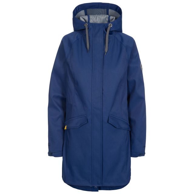 Trespass Womens Softshell Jacket Water Resistant Matilda in Navy, Front view on mannequin