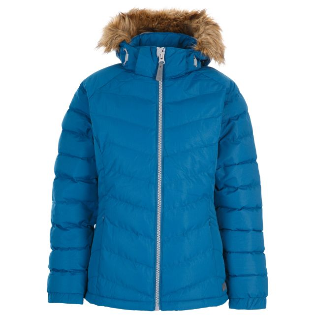 Trespass Womens Padded Jacket Hooded Nadina Cosmic Blue, Front view on mannequin