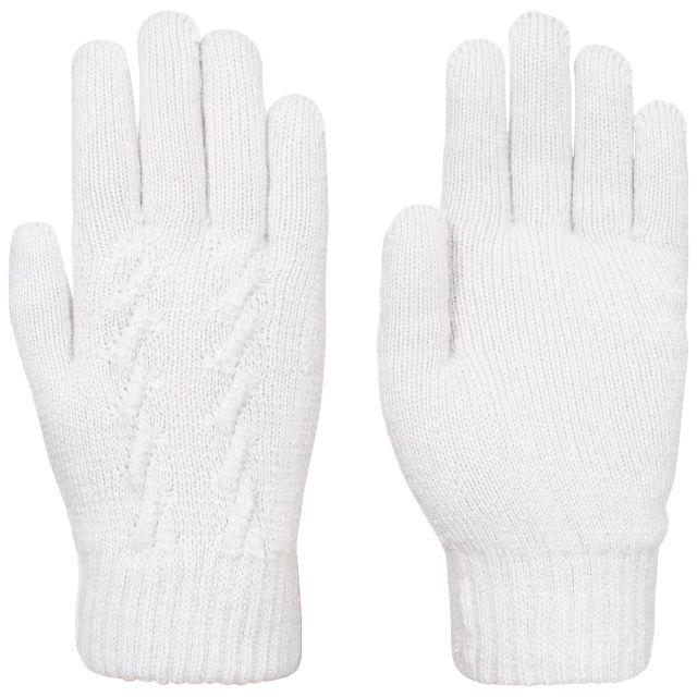 Trespass Womens Knitted Gloves Rib Cuff White Ottile in Grey