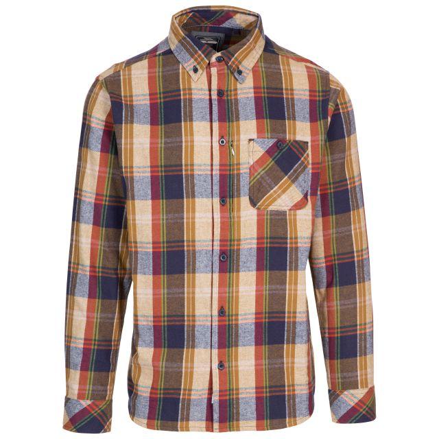 Trespass Men's Checked Shirt Hidden Zip Pocket Parkfordley Brown