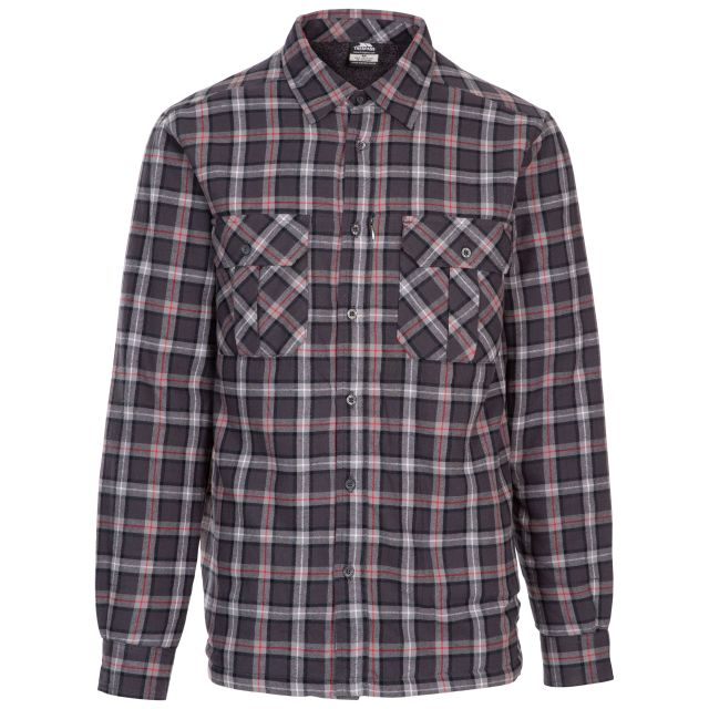 Rapeseed Men's Fleece Lined Checked Shirt in Dark Grey Check