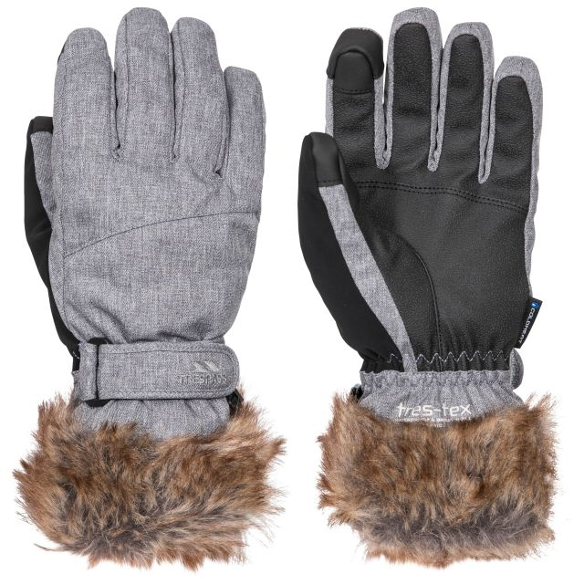 Shiloh Women's Gloves with Faux Fur Cuff in Platinum