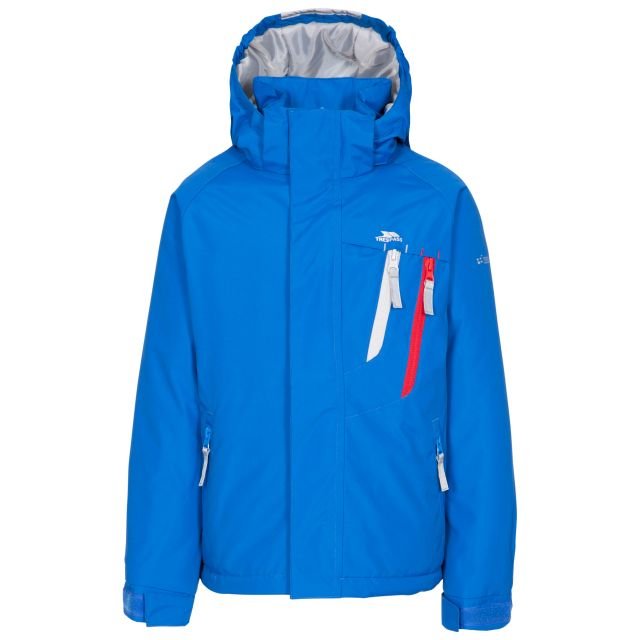 Specific Kids' Padded Waterproof Jacket in Blue, Front view on mannequin