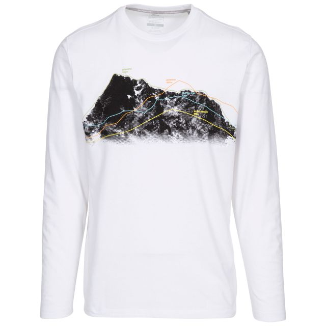 Trespass Mens T Shirt Long Sleeved Quick Dry Wrenburyton White