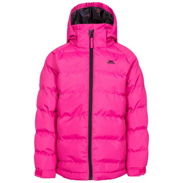 Amira Kids' Padded Casual Jacket in Pink, Front view on mannequin