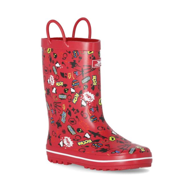 Trespass Kids Wellies Pull-handles Printed Apolloton Red
