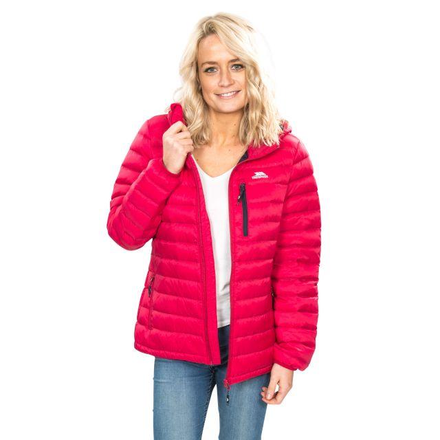 Arabel Women's Hooded Down Packaway Jacket in Pink