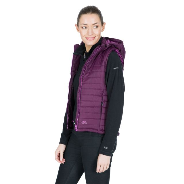 Aretha Women's Hooded Padded Gilet in Purple