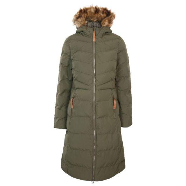 Audrey X Women's Long Length Padded Jacket in Dark Vine, Front view on mannequin