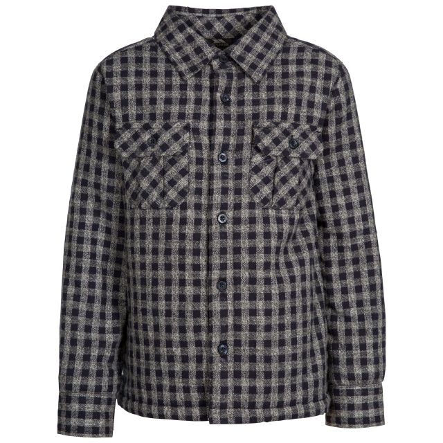 Average Kids' Checked Cotton Shirt in Navy