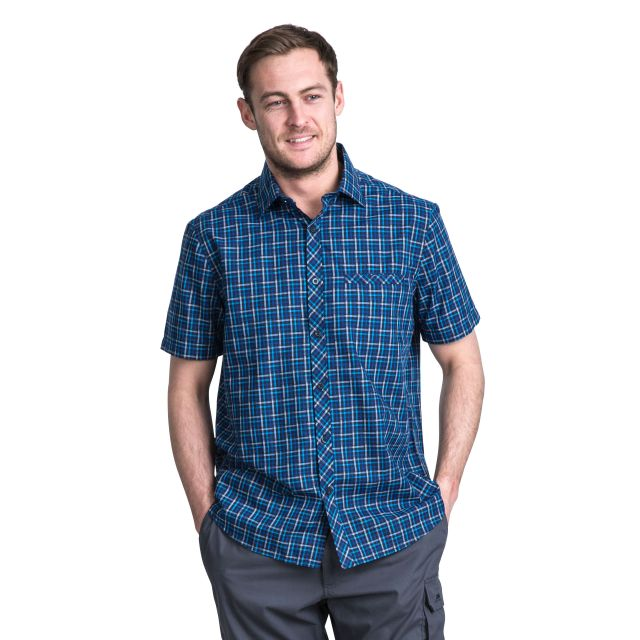 Baffin Men's Short Sleeve Checked Shirt in Blue