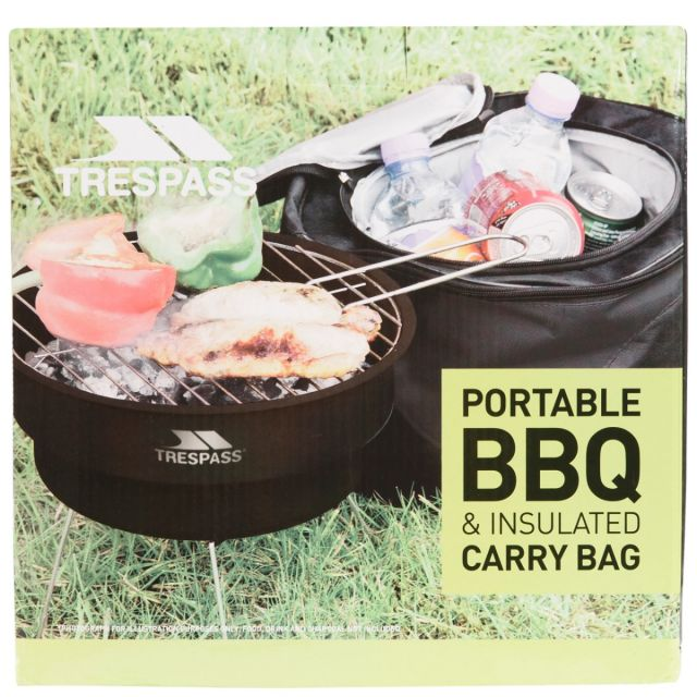 Trespass Portable BBQ Bucket Grill in Black Collapsible