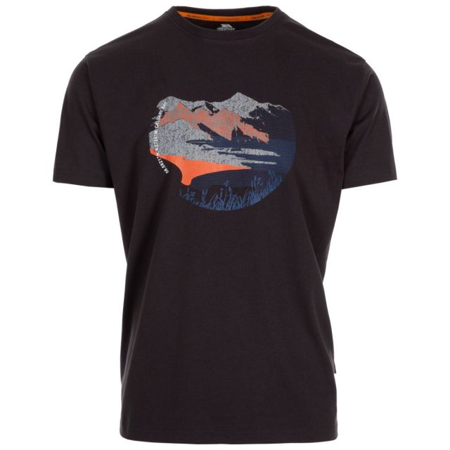 Trespass Men's Casual Short Sleeve Graphic Mountainscape T-Shirt Barnstaple Grey, Front view on mannequin
