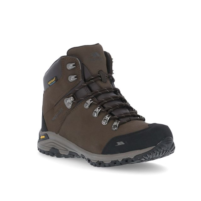 Baylin Women's Waterproof Vibram Walking Boots in Brown, Angled view of footwear