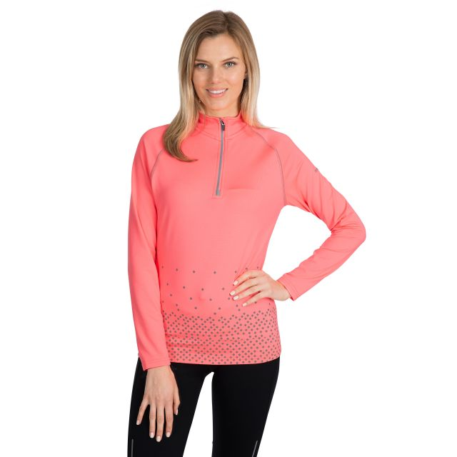Belinda Women's 1/2 Zip Quick Dry Active Top in Peach