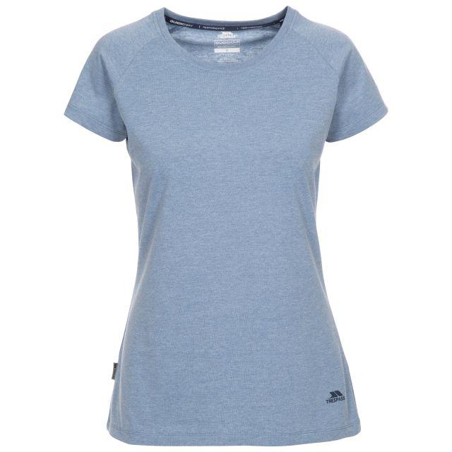 Benita Women's Crew Neck T-Shirt in Light Blue, Front view on mannequin