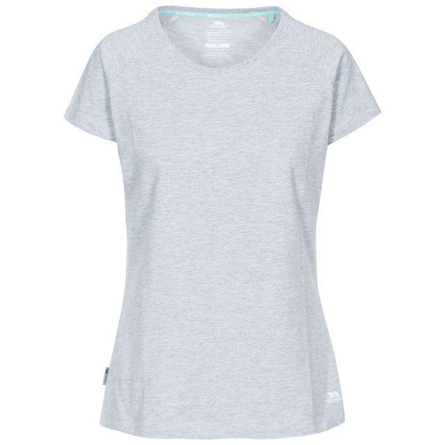 Benita Women's Crew Neck T-Shirt in Light Grey, Front view on mannequin