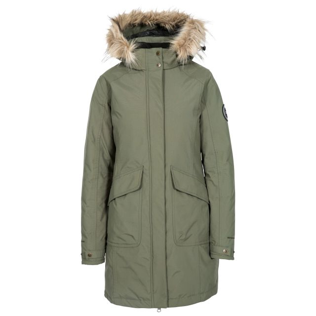 Bettany Women's DLX Waterproof Down Parka Jacket in Green, Front view on mannequin