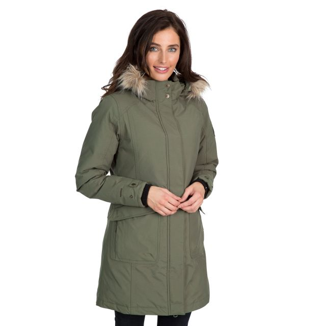 Bettany Women's DLX Waterproof Down Parka Jacket in Green
