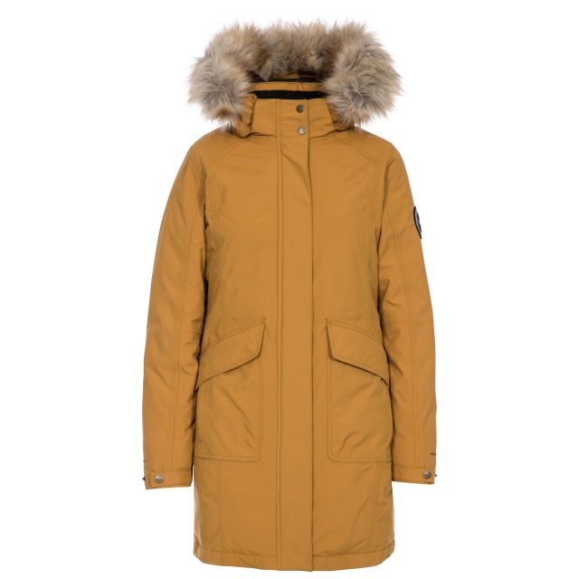 Bettany Women's DLX Waterproof Down Parka Jacket in Sandstone, Front view on mannequin