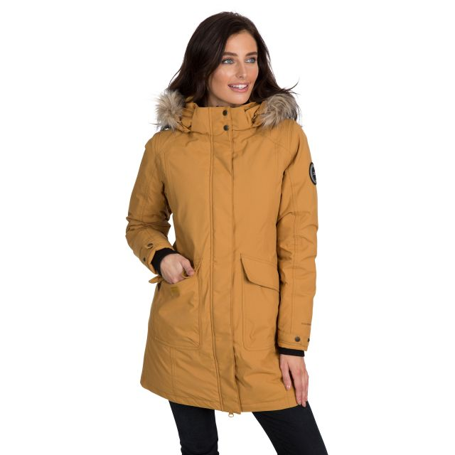 Bettany Women's DLX Waterproof Down Parka Jacket in Sandstone