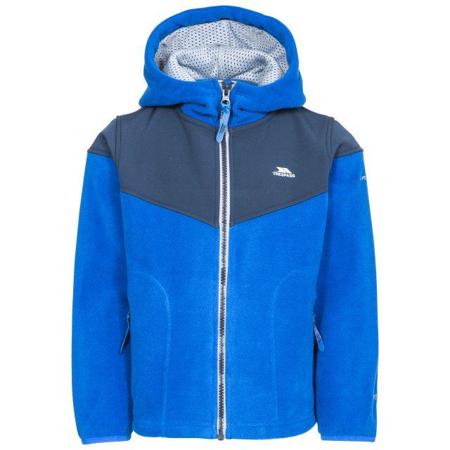 Bieber Kids' Full Zip Fleece Hoodie in Blue, Front view on mannequin