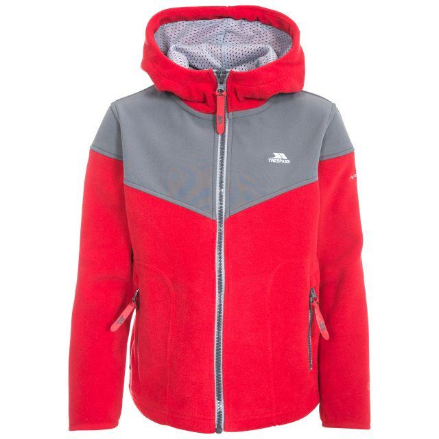 Bieber Kids' Full Zip Fleece Hoodie in Red, Front view on mannequin
