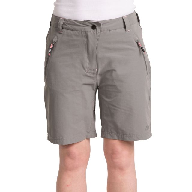 Brooksy Women's Quick Dry Active Shorts in Light Grey