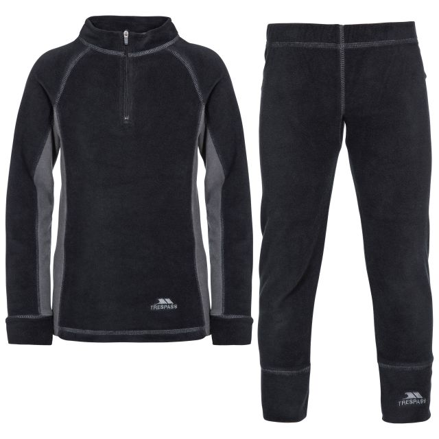 Bubbles B - Kids Fleece Base Layers in Black