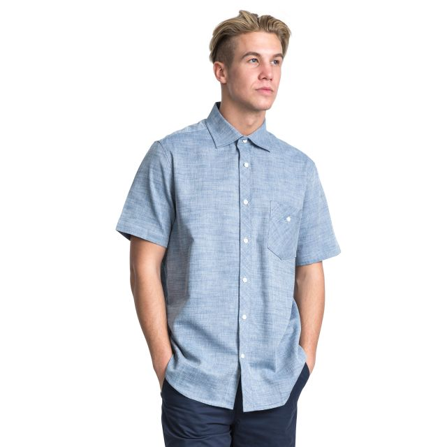Buru Men's Chambray Short Sleeve Shirt in Light Blue