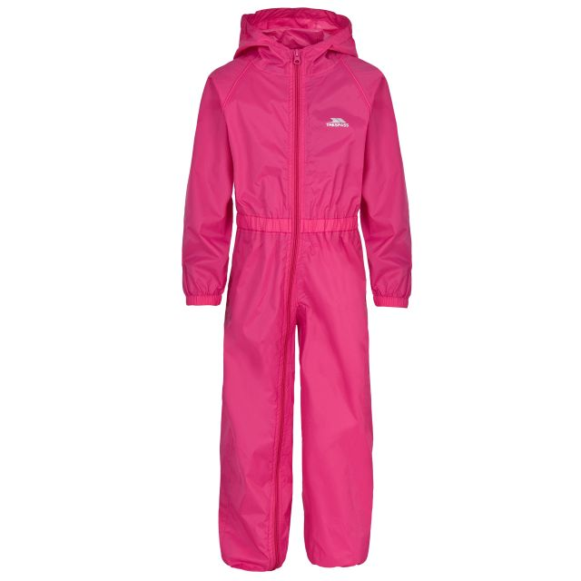 Button Girls Pink Waterproof Rain Suit