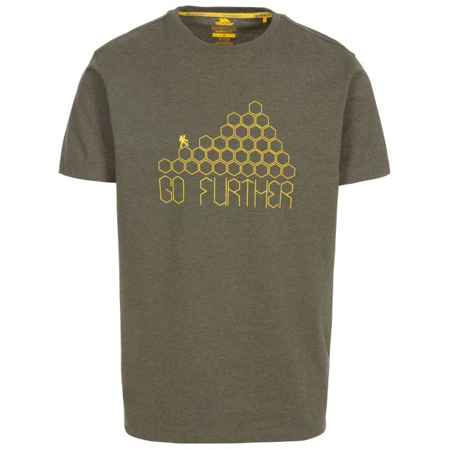 Buzzinley Men's Printed T-Shirt in Green, Front view on mannequin
