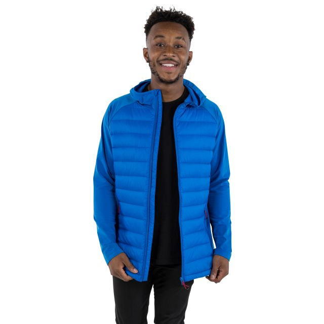 Cade Men's DLX Hooded Down Jacket in Blue