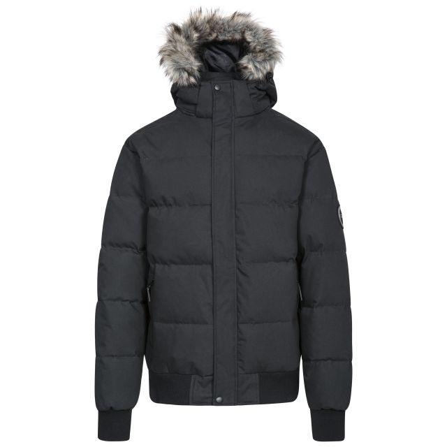 Calgary Men's DLX Hooded Down Jacket in Black