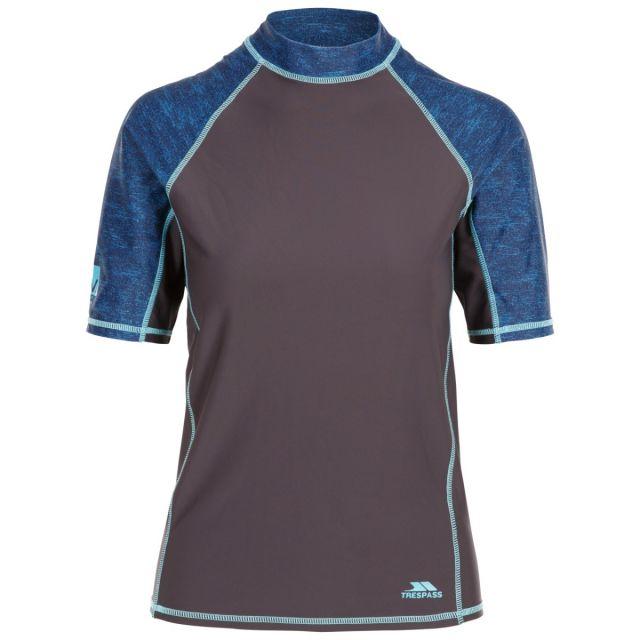 Trespass Women's Short Sleeve UV Rash Guard Calista Grey, Front view on mannequin