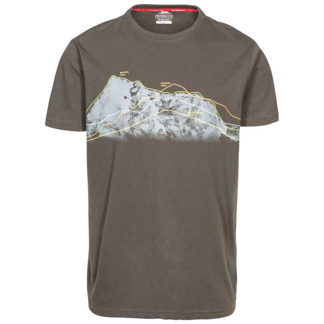 Cashing Men's Printed Casual T-Shirt in Khaki, Front view on mannequin