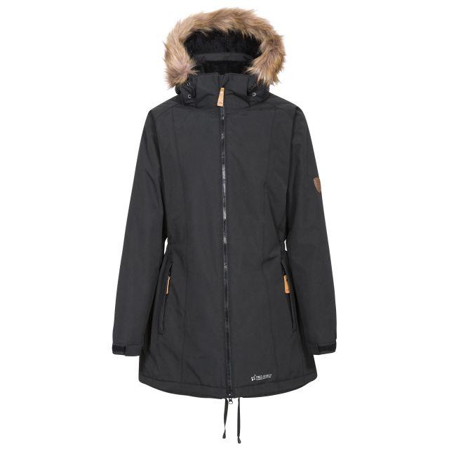 Celebrity Women's Fleece Lined Parka Jacket in Black, Front view on mannequin