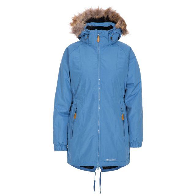 Celebrity Women's Fleece Lined Parka Jacket in Blue, Front view on mannequin